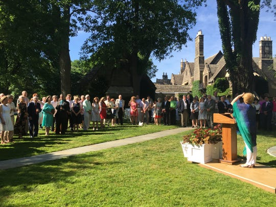 The guests are on the lawn at the Edsel and Eleanor Ford estate in Grosse Pointe Shores for the wedding vows renewal on June 25, 2016.