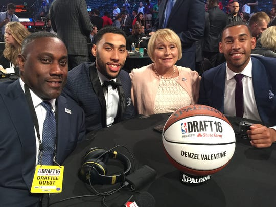 The Valentine family, (from left) Carlton, Denzel, Kathy and Drew, get set for the NBA Draft Thursday night at Barclays Center in Brooklyn, New York. The Chicago Bulls selected Denzel with the 14th pick.