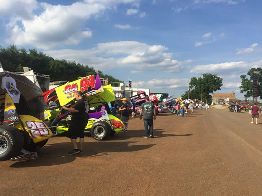 410 Sprint Cars sit in the pits at Lincoln Speedway on the second day of Pennsylvania Speedweek
