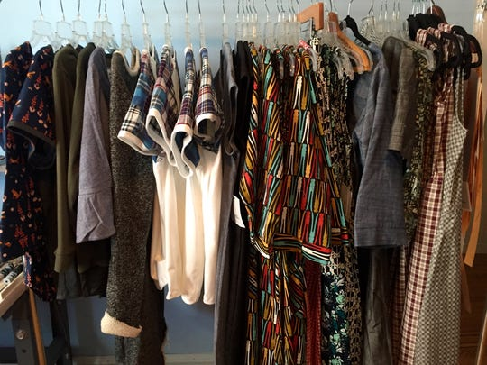 A rack of clothes in National Picnic designer Betsy Cook's Collingswood home.