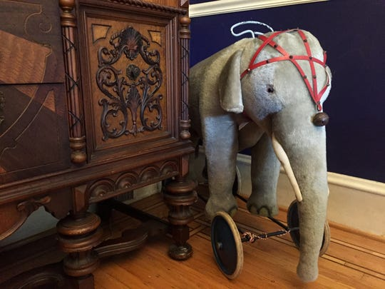 'Steiffy' the elephant in the Cooks' dining room.