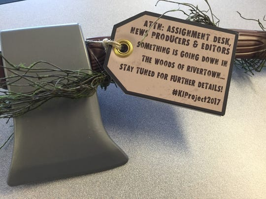 """The promotional plastic ax distributed by Kings Island ahead of its announcement of the """"Kings Island 2017 project."""""""