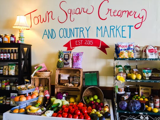 Town Square Creamery $ Country Market offers local produce, honey, jams and relishes in addition to handmade ice cream.