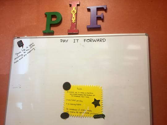 The pay-it-forward board where patrons at Gus' Coney