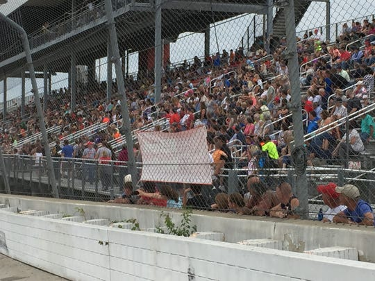 Fans fill the grandstand during Sunday's Freedom Fest