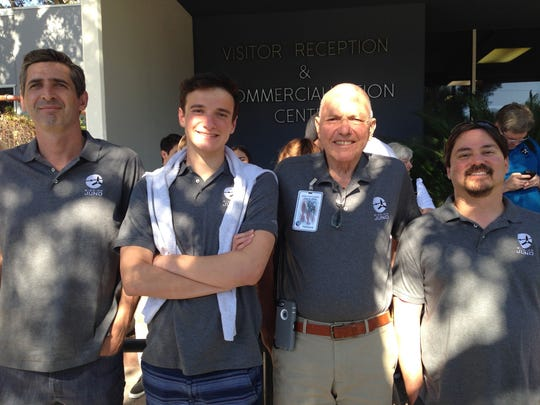 Juno co-investigator William Hubbard (center right) with son-in-law Laurent Combredet (from left), Toby Kochenderfer (grandson) and son-in-law Johnny Birkinbine at the Jet Propulsion Lab in Pasadena, California.