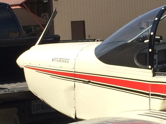 Damage to a small plane is evident after a crash landing Wednesday afternoon at the Ephraim-Gibraltar Airport.