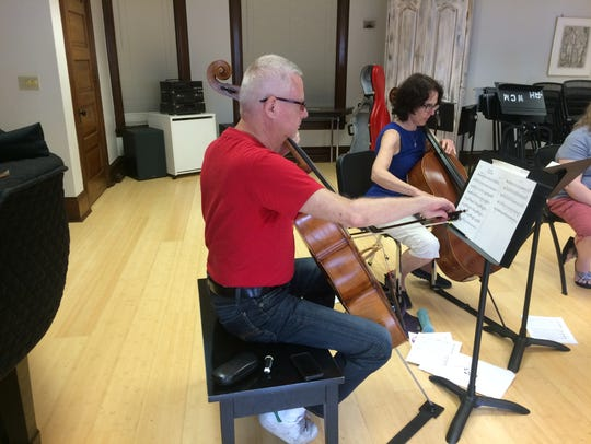Michael Andrews and friend Nancy Torrente rehearse