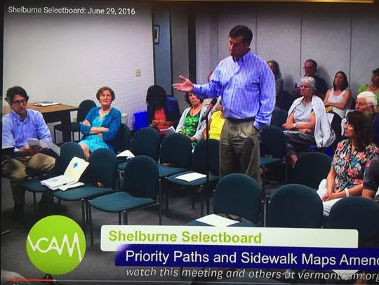 Community member Mike Regan speaks at a Shelburne Selectboard