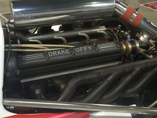 One of the many Offy engines in a race car at the World of Speed museum.