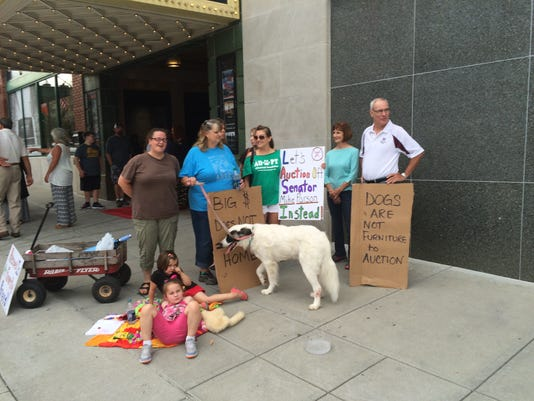 Protesting 'The Dog Lover'