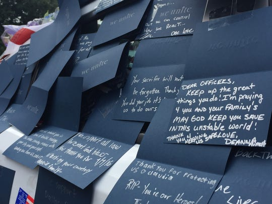 Handwritten notes from the Dallas community thanking