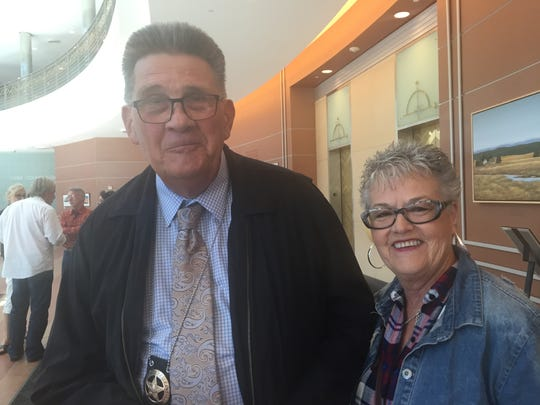 Left, Sgt. Terry Kaiser of Monterey County with his wife Cheryl Ward-Kaiser at Tuesday's Board of Supervisors meeting