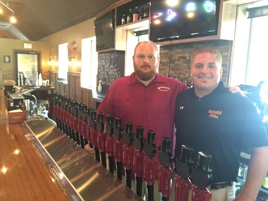 Jay Nichols, left, and Tony Caraglio, former business partners at the Stoneyard American Craft Beer Hall in Penfield.