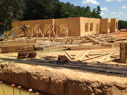 Construction on Foundation Bank continues in Rushmeade Commercial Subdivision, which is bordered by Pleasant Plains Extended and Country Club Lane.
