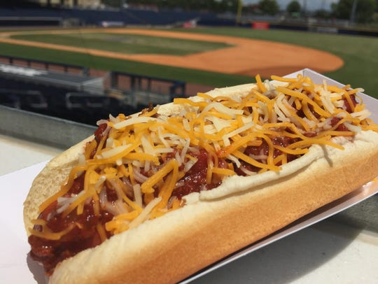 The chili cheese dog at the Sounds ballpark is perfection