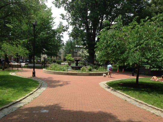 Fitler Square, a few blocks from the Schuylkill River, is a neighborhood park in Philadelphia.