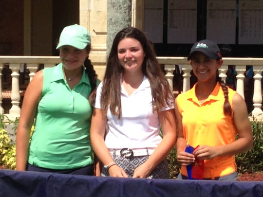 Annika Church (center) of Naples won the Girls 14-15s at the Drive, Chip and Putt local qualifier at Vineyards Country Club on Saturday, July 16, 2016, in Naples, Fla. Alyssa Mercado of Bradenton (right) was second, and Gabriella Chavez of Miami was third.