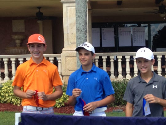 Marc Oates of Naples (center) won the Boys 12-13s at the Drive, Chip and Putt local qualifier at Vineyards Country Club on Saturday, July 16, 2016, in Naples, Fla. Tyler Stamerro of Naples (left) was second and Andres Atrio of Coral Gables was third.