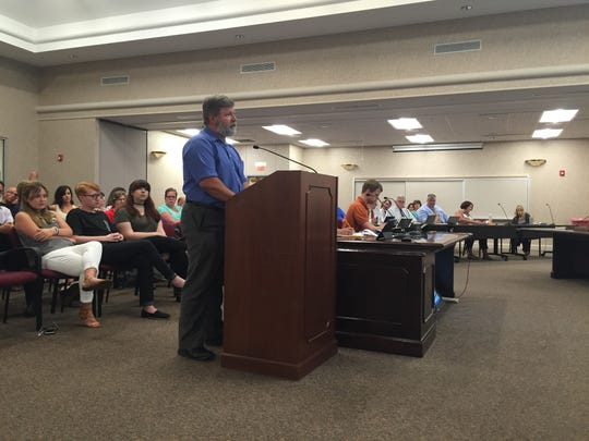 Carl Trubee speaks to the Rutherford County Board of Education during a work session on Monday evening.