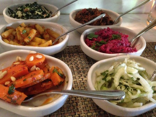 A selection of salads at Zahav, an Israeli restaurant in Society Hill, a neighborhood in Philadelphia.