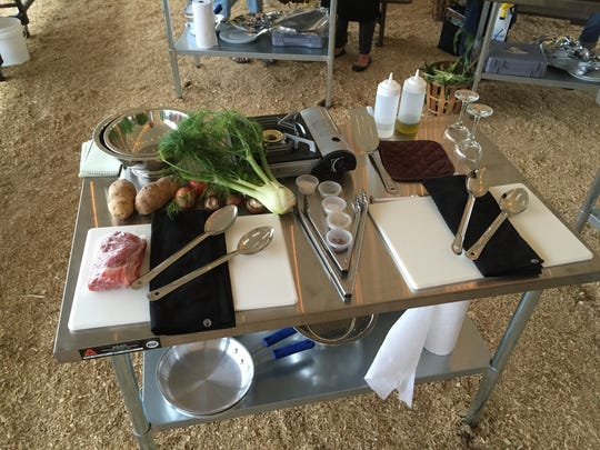 A prep station at Donaldson's Farm's  Harvest, Cook and Dine pilot event in Hackettstown on July 13, 2016.