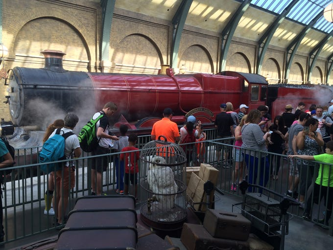 Passengers line up for the Hogwarts Express, which