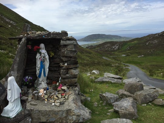 A Mother Mary statue adorns Mamore Pass in County Donegal.