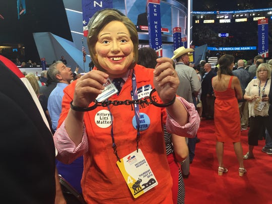 of Wes Nakagiri, a Hartland, Mich. resident, who created a stir on the floor of the Republican National Convention Thursday with is alternate persona — an orange prison jump suit, handcuffs and Hillary Clinton mask.