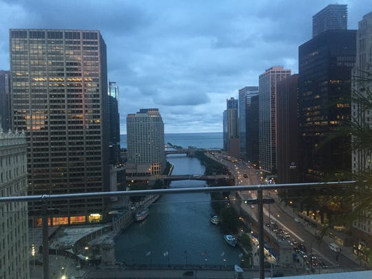 This is the view of the Chicago River and Lake Michigan from the Terrace at Trump, the bar at Trump International Hotel & Tower Chicago.