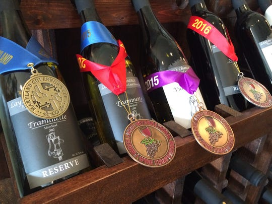 Medals from various wine competitions decorate the bottles at Layton's Chance. Several Eastern Shore wineries have racked up similar honors at competitions throughout the country.