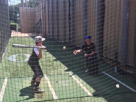 Jackson Generals worked with children on baseball skills Thursday at The Ballpark at Jackson.
