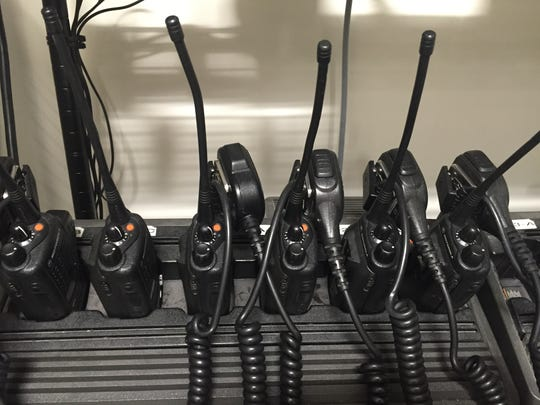 A bank of  Motorola HT750's charging for the next fire staff on duty, on Wednesday, July 20.
