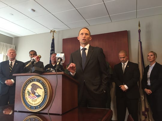 United States Attorney Eric Miller at the end of a  press conference on Friday, July 22, regarding drug distribution in Winooski, Vermont.