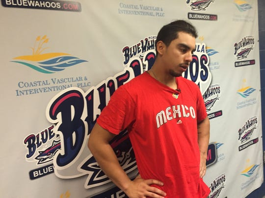 Pensacola Blue Wahoos outfielder Sebastian Elizalde discusses his 4 RBI game in the team's 7-3  win Saturday night against Biloxi.