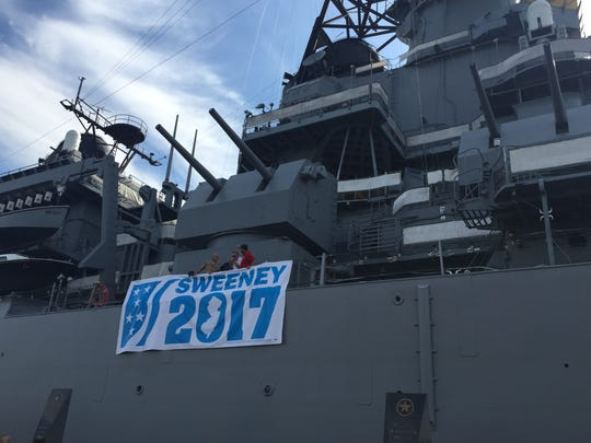 Campaign sign of state Senate President Stephen M. Sweeney hangs on the side of the Battleship New Jersey at his reception to kick off the Democratic National Convention in Philadelphia. He is not  saying if he is running for re-election for governor.
