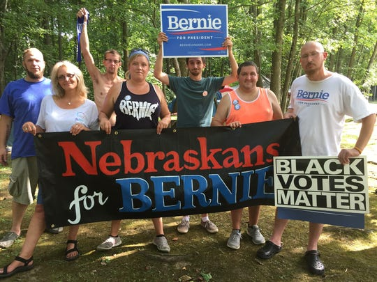 Bernie Sanders supporters from Nebraska gather at Timberlane Campground in Clarksboro, NJ before heading into Philadelphia for rallies at the Democratic National Convention.