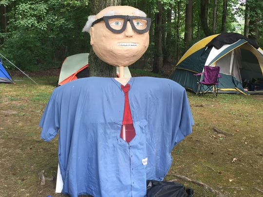 Bernie Sanders, papier-mache version, makes an appearance