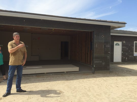This home on San Benito Circle in Palm Desert is being built to accommodate a disabled veteran. The two Habitat for Humanity of Coachella Valley homes are about halfway done, Executive Director Marty Hartley said. The homes are being built on land donated to the agency by the city of Palm Desert.