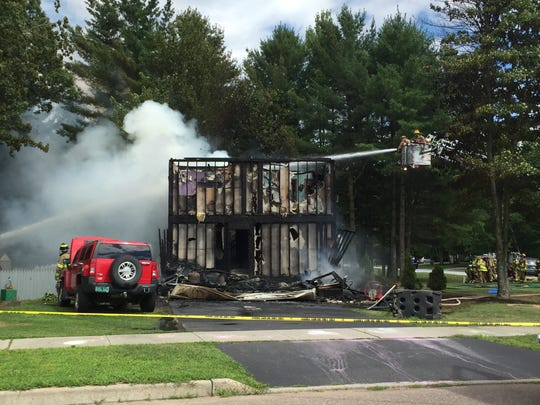 A home at 82 Overlake Drive in Milton was destroyed in a fire Tuesday afternoon, July 26, 2016.