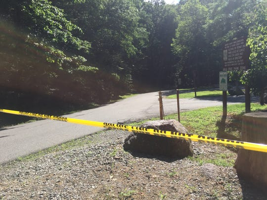 Tourne County Park, shown here at the Boonton Township Entrance off Powerville Road, was closed Tuesday morning by police after a possibly rabid raccoon attacked and bit an elderly man while he was taking a walk.