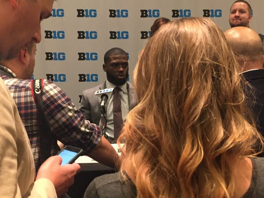 Ohio State quarterback J.T. Barrett was surrounded by reporters at Big Ten Media Days in Chicago on Tuesday.