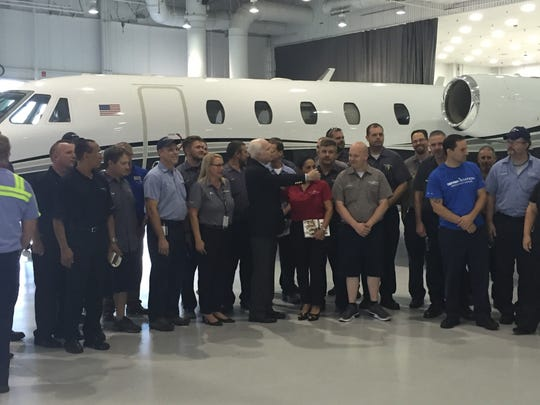 Sen. John McCain, R-Ariz., made a campaign stop Tuesday afternoon at a Mesa Cessna plant.