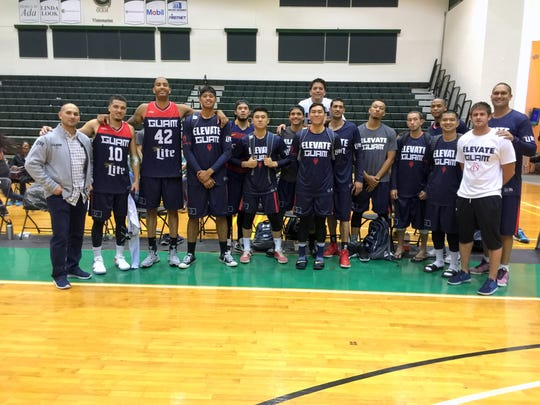 Team Guam after their second straight victory in the Guam Invitational Basketball Tournament Tuesday at the University of Guam Calvo Field House. Guam beat National University 82-72.