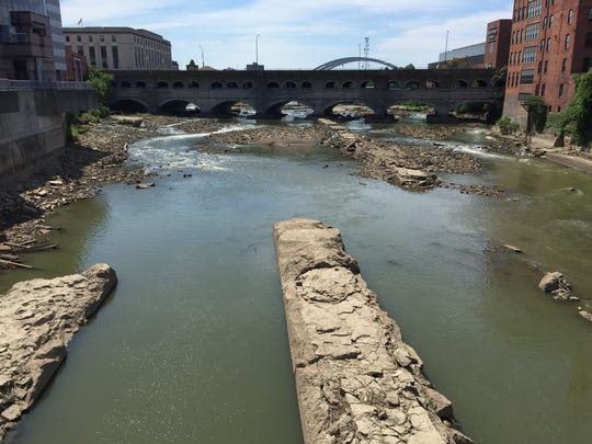 A recent view of the Genesee River in downtown Rochester looking south from the Main Street bridge.