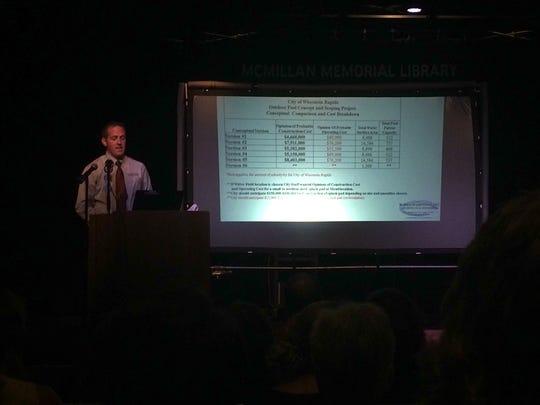 Burbach Aquatics described details and costs of outdoor aquatics options at a presentation July 26 at McMillan Memorial Library in Wisconsin Rapids.