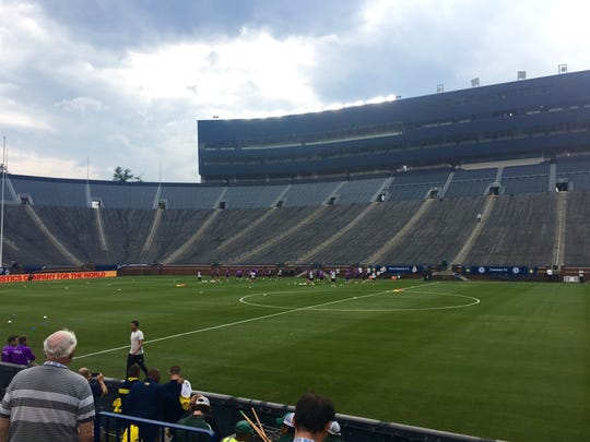 Practice at Michigan Stadium on July 29, 2016 for the Real Madrid-Chelsea match.