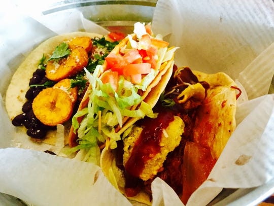 A trio of tacos from Tacos & Tequila in Naples.