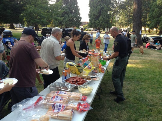 National Night Out in Sublimity coupled with First Tuesday in Church Park in 2014.