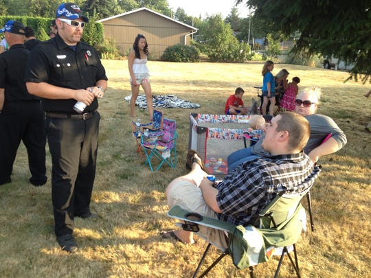 Chatting it up near Aumsville's Wildwood Park during the Aug. 5 National Night Out.